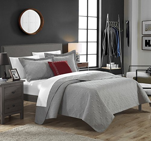 Chic Home 4 Piece Barcelo Traditional Embroidery Quilt Set with Embroidered Decorative Pillow, Queen, Grey by Chic Home