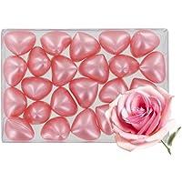 Caja de 24 perlas de aceite de baño fantasías - Corazón perfume rosa
