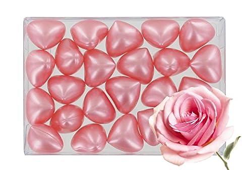 Box of 24 oil bath pearls - hearth shaped - fragrance rose