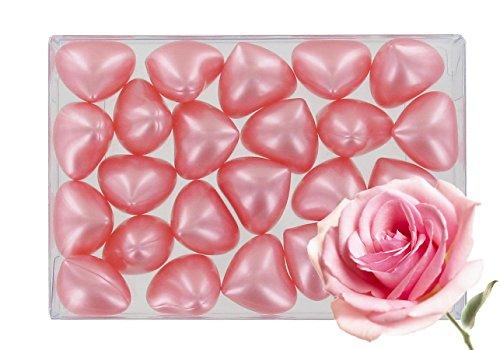 Boîte de 24 perles d'huile de bain fantaisies - Cœur parfum rose