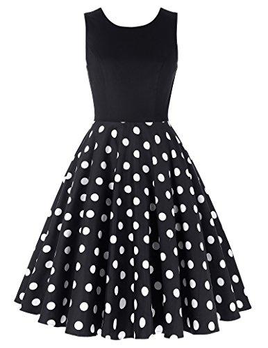 damenkleider festlich rockabilly kleid polka dots kleid casual petticoat kleid hochzeitskleid...