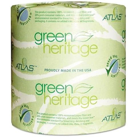 Atlas Paper Mills 280GREEN Patrimonio Verde Papel higi-nico, 2 capas, 500 hojas, blanco, 96 por