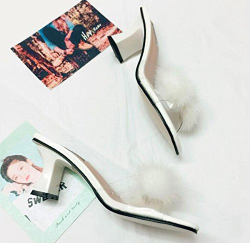 Beauqueen Pantofole popolari di cerimonia nuziale Decorazione artificiale della piuma Metà degli orecchini centrali del piede delle donne femminili del piede femminile Prime Day Size EU 35-39 White