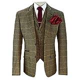 Herren Wollmischung Tweed kariert Blazers Weste Hose 3-tlg. Anzüge von Cavani - hellbraun - Albert, Chest 42