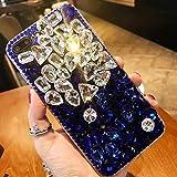 Cestor Glänzend Diamant Handyhülle für Samsung Galaxy Note 8,Luxus 3D Bling Glitzer Kristall Strass TPU Silikon Hülle für Samsung Galaxy Note 8,Anti-Kratzer Schutz Gummi Bumper Rückseite Hülle für Samsung Galaxy Note 8,Weiß Blau