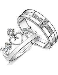 Sorella'z Unisex Prince & Princess Cross Crown Lovers Resizable Ring Set