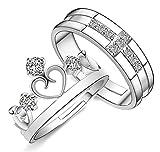 #1: Sorella'z Unisex Prince & Princess Cross Crown Lovers Resizable Ring Set