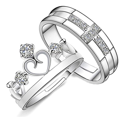 Sorella\'z Unisex Prince & Princess Cross Crown Lovers Resizable Ring Set