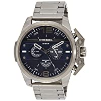 Diesel Ironside Men's Quartz Watch With Blue Dial and Grey Stainless Steel Bracelet Dz4398, Grey Band