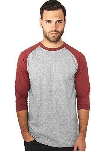 Urban Classics Herren Shirt 3/4-Arm Contrast grey/ruby L -