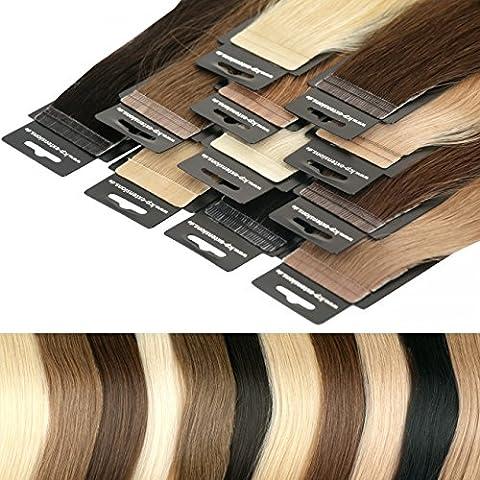 LCP Tape In Extensions Virgin Remy Echthaar 60 cm Länge Haarverlängerung 10 Tressen x 4 cm Breite - Farbe #8 nussbraun