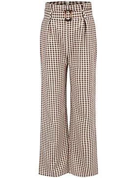 republe Las Mujeres de Cintura Alta de la Tela Escocesa de Pierna Ancha Pantalones con Cinturón de los Pantalones...
