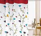 beddingleer 120cm x 200cm Flora Design Quick Dry Stoff Duschvorhang wasserabweisend Schimmelresistent Stripe Duschvorhang Liner mit Haken