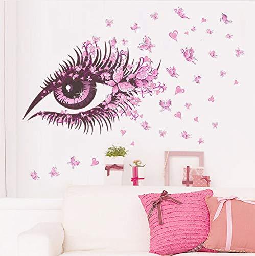 akeansa Wandtattoo Wand kinderzimmer Kinder Tieren Schlafzimmer Lebendige Rosa Augen Schmetterlinge Blumen Mädchen Geschenke Wohnkultur Wohnzimmer Poster Blumen PVC DIY Kunstwand