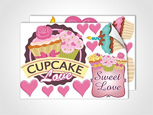 DIN A4 Set für Küche Schriftzug Cupcake Love Muffin (DIN A4 (2Stück)) (Cupcakes Steht)