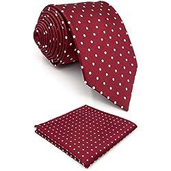 """Shlax y ala rojo lunares Maroon boda cuello de para hombre Fashion 57,5""""extra largo 63"""" Rojo Fashion Necktie 57.5""""x3.15"""" + Pocket Square"""