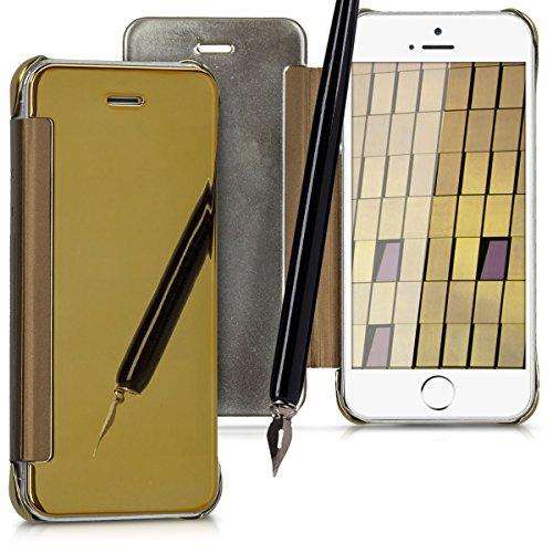 kwmobile Étui flip case miroir pour Apple iPhone SE / 5 / 5S - Housse pliante cover en couleur or miroitant couleur or miroitant