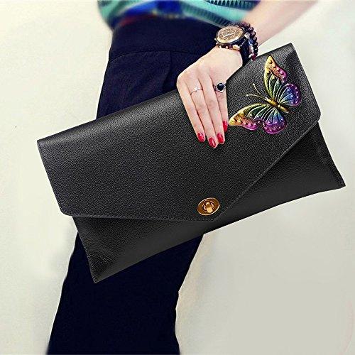 Leder Umschlag Tasche, Handtasche, Handtaschen, die erste Schicht aus Leder Damen Abendessen Paket ( Farbe : Lila ) Multicolored