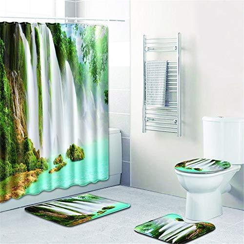LWPCP Duschvorhang + Türmatte + WC-Abdeckung + Fußkissen 4-Teiliges Set Badezimmer, Baddekoration HD-Landschaftsdruck Anti-Rutsch-Feuchtigkeit,2,45 * 75CM
