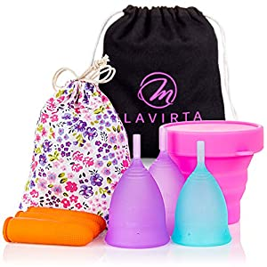 Flavirta Menstrual Cup 3-Pack 1x Small & 2X Large - Alternative to Tampons and Cloth Sanitary Napkins Pre and Post Childbirth Reusable Period Cups