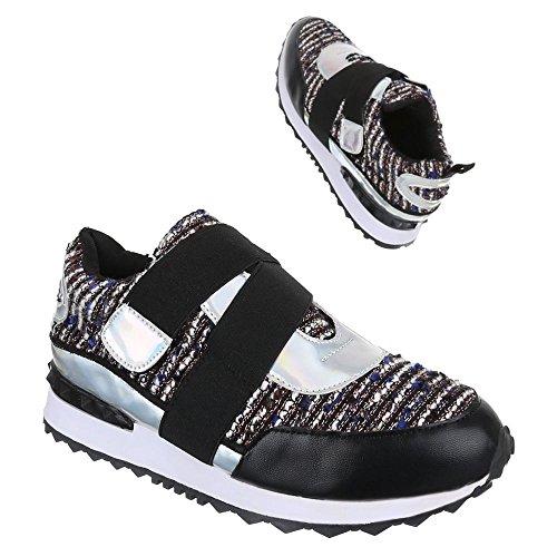 Chaussures femme, FC 58tt, de loisirs chaussures sneakers chaussures de sport Noir - Schwarz Blau