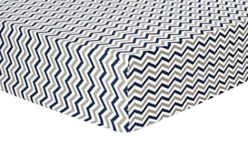 (Trend Lab Chevron Deluxe Flanell Spannbetttuch Kinderbett, Marineblau und Grau)
