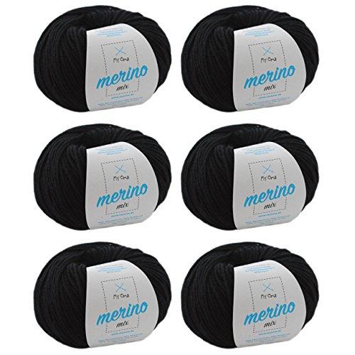Wolle stricken * Merino Wolle schwarz (Fb 200) * schwarze Merinowolle zum Häkeln - 6 Knäuel schwarzes Merinogarn + GRATIS MyOma Label - 50g/120m - MyOma Wolle - weiche Wolle - Mischgarn