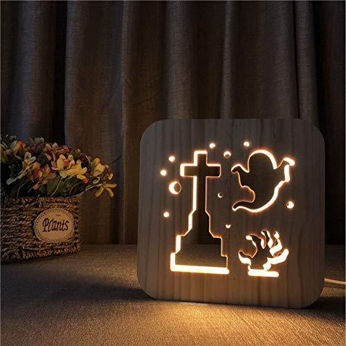 Nachtlicht 3d Geist Form Aus Holz Lampe Schlafzimmer Aus Holz LED Dekorationen Kinder Geschenk