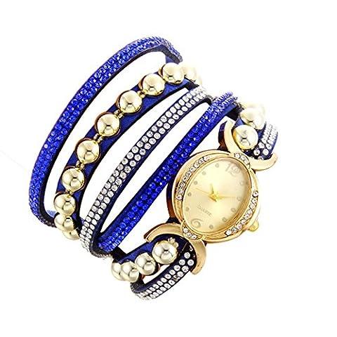 Minshao Mode Multi couches simili cuir Band Strass Perles Chaîne à quartz Bracelet montre-bracelet pour coffret cadeau pour femme bleu