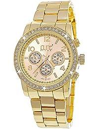 Pure Time designer Damenuhr,Exclusive Damen Strass Uhr in Chronograph Optik,Weiß, Gold C4