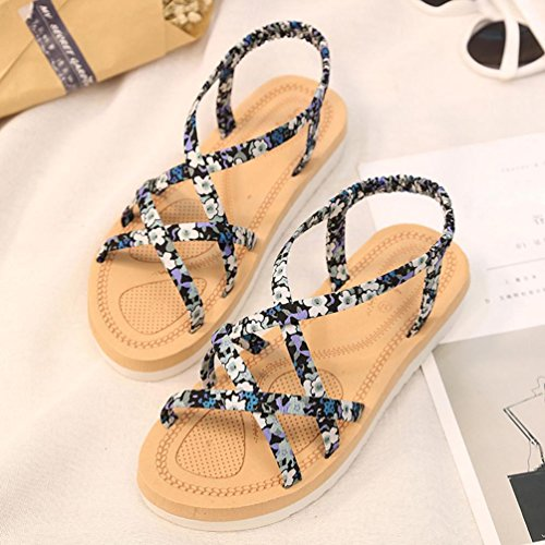 Summer Beach String Bands Flache Schuhe, Kaiki Mode Frauen Flip Flops Flat Shoes Blue