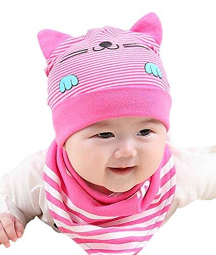 Happy Cherry- Unisex Baby Winter Mütze Cartoon Kätzchen Mütze Säugling Kappe Kleinkind Hüte mit Gestreift Schal - Rosa