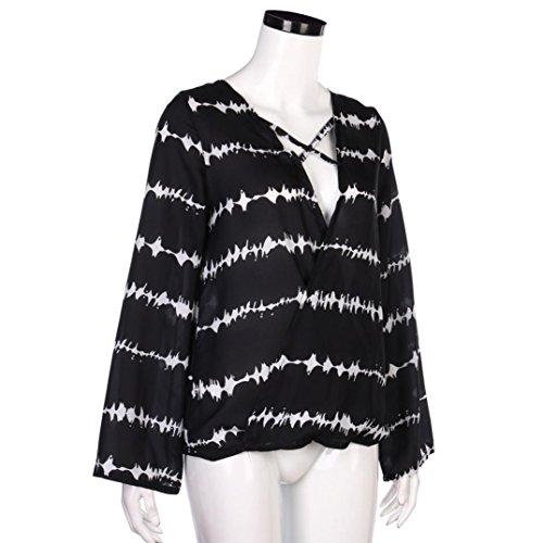 Tonsee® Femmes Chevauchement cravate mousseline occasionnelle blouse Chemise à manches longues rayée hauts Noir