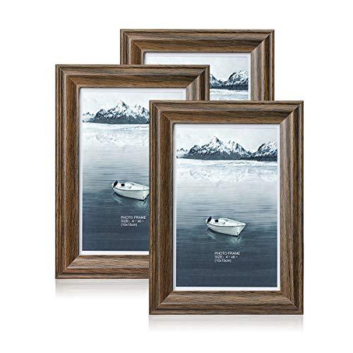 Metrekey Bilderrahmen, 3 Stück, mit hochaufgelöstem Glas, für Desktop-Display und Wandmontage, Holz, braun, 10 x 15 cm