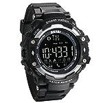 JewelryWe Mens Multifunctional Digital Sport Smart Watch With Bluetooth Pedometer Remote Camera 5ATM Water Resistant Black Silver