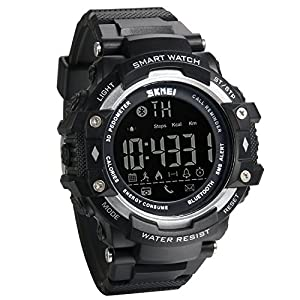 JewelryWe Mens Multifunctional Digital Sport Smart Watch with Bluetooth Pedometer Remote Camera 5ATM Water Resistant – Black Silver