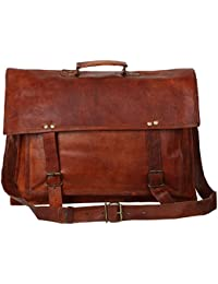 "Handcraft's ""David"" Vintage Handmade Exclusive Genuine Leather Unisex Brown Briefcase Laptop Bag Office Bag"