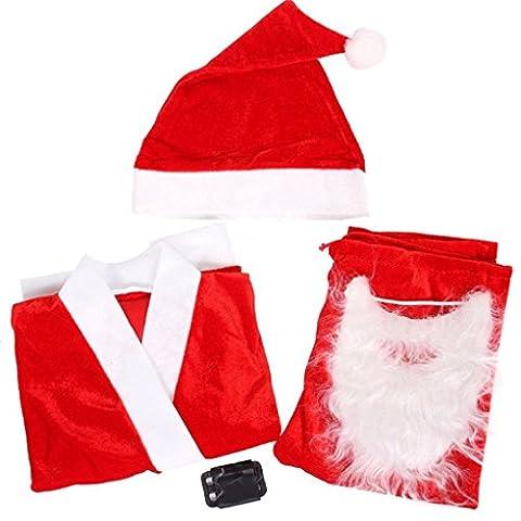 Noël Pleuche 5 pièces Santa Suit Party personnalisé pour 3-5 ans garçons 39x34x27x50cm Aeroty