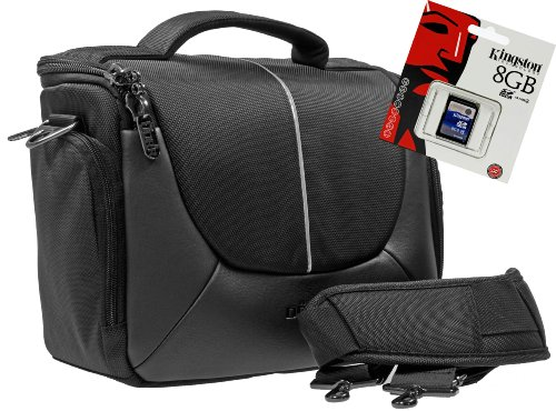 Foto Kamera Tasche YUMA L Tasche im Set mit 8 GB SD Speicherkarte für Canon EOS 1300D 1200D 760D 750D 80D M
