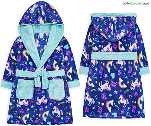Jolly Rascals - Albornoz con Capucha para niñas, diseño de Unicornio, Color Azul Azul Azul 9-10 Años