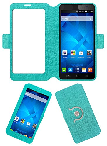 Acm SVIEW Window Designer Rotating Flip Flap Case for Panasonic P81 Mobile Smart View Cover Stand Turquoise