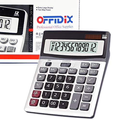 OFFIDIX große Schlüssel Rechner Office Desktop Rechner, Solar und Batterie Dual Power elektronische Taschenrechner tragbare 12 Digit große LCD Display Rechner 2018 neues Geschenk (Silber) -