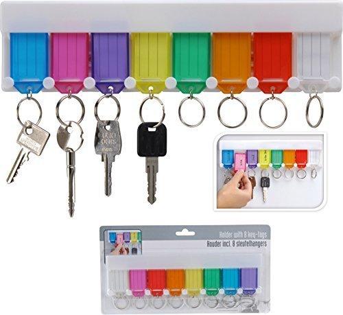 EG Homeware Support mural pour suspendre plusieurs clés avec des étiquettes en plastique Blanc