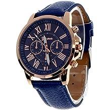 vovotrade Las nuevas mujeres de la moda de Ginebra Numeros romanos simil cuero analogico reloj de pulsera de cuarzo azul oscuro