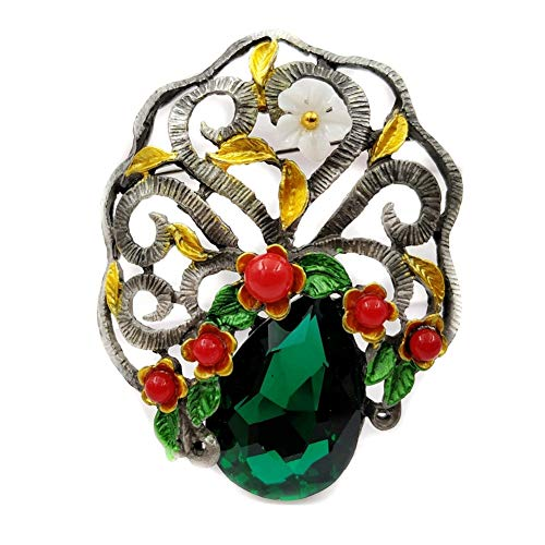 CCJIAC Weinlese Gebogene Rolle-grüne Steinbaum-Broschen-Silber-Ton-rote kleine Blumen-Gelb-Blatt-Deko-asiatische Art-Bonsai-Stifte (Asiatische Kostüm Schmuck)