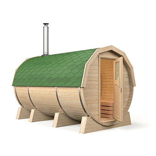 """ISIDOR Fasssauna """"M3 Premium"""" mit Vorraum und Holzofen, aus Espenholz (grüne Dachschindeln)"""