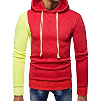 Yvelands Mens Fashion Sweatshirt con Capucha Empalme Pocket Pullover Manga Larga Slim Fit Tops Blusa.