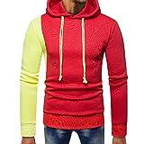 KPILP Mode Mens Herbst Winter Splicing Pocket Pullover Patchwork Langarm-Shirt mit Kapuze Sweatshirt Tops Bluse Outwear(Rot, 2XL