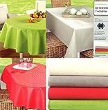 heimtexland Gartentischdecke Outdoor Tischdecke WETTERFEST 130 x 180 cm oval in rot schmutz- und wasserabweisend ÖKOTEX Garten Camping Tisch Deko Typ546