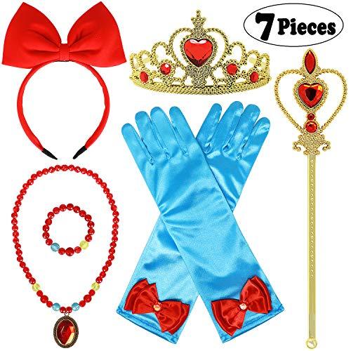 ittchen Kostüm Kinder Prinzessin Zubehör Snow White Haarreife Krone Handschuhe Mädchen Zauberstab Halskette Armband Ohrringe für Karneval Halloween Weihnachten (Schneewittchen) ()